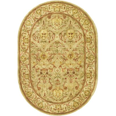 Empress Hand Tufted Wool Moss/Beige Area Rug Rug Size: Oval 76 x 96