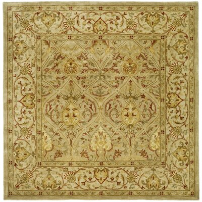 Empress Hand Tufted Wool Moss/Beige Area Rug Rug Size: Square 6