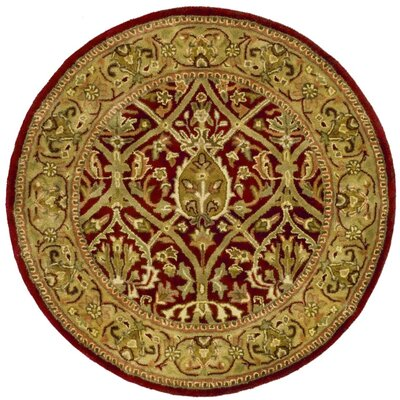 Empress Red/Gold Area Rug Rug Size: Round 36