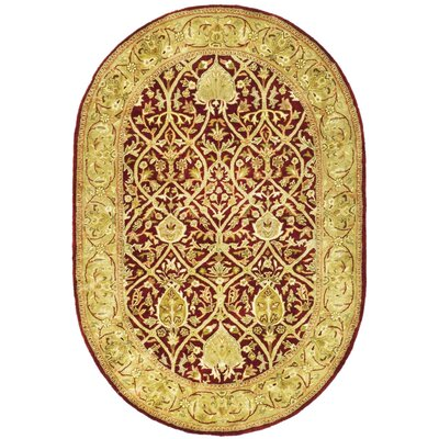 Empress Red/Gold Area Rug Rug Size: Oval 46 x 66