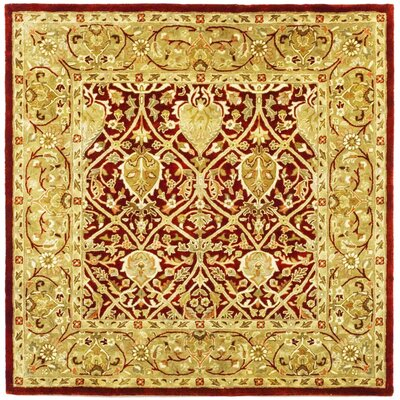 Empress Red/Gold Area Rug Rug Size: Square 6
