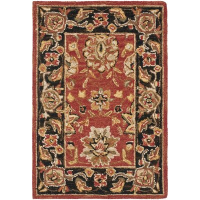 Weaver Rose/Black Rug Rug Size: 53 x 83
