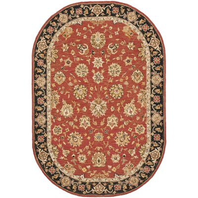 Weaver Rose/Black Rug Rug Size: Oval 4'6