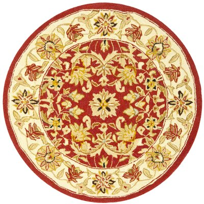 Weaver Red / Ivory Area Rug Rug Size: Round 3