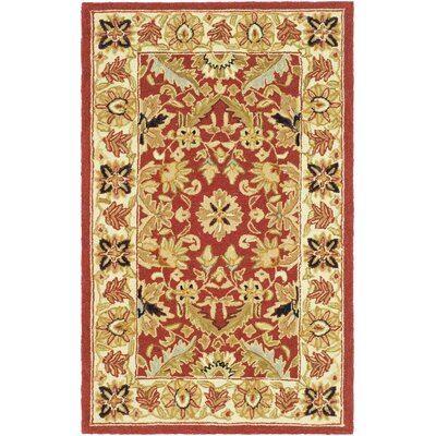 Weaver Red / Ivory Area Rug Rug Size: Rectangle 3'9