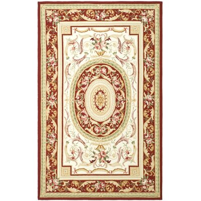 Weaver Hand-Hooked Burgundy/Ivory Area Rug Rug Size: Rectangle 6' x 9'