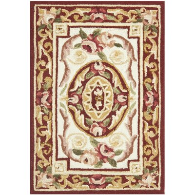 Weaver Hand-Hooked Burgundy/Ivory Area Rug Rug Size: Rectangle 18 x 26
