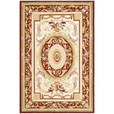 Weaver Hand-Hooked Burgundy/Ivory Area Rug Rug Size: Rectangle 5'3