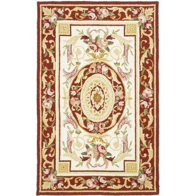 Weaver Hand-Hooked Burgundy/Ivory Area Rug Rug Size: Rectangle 39 x 59