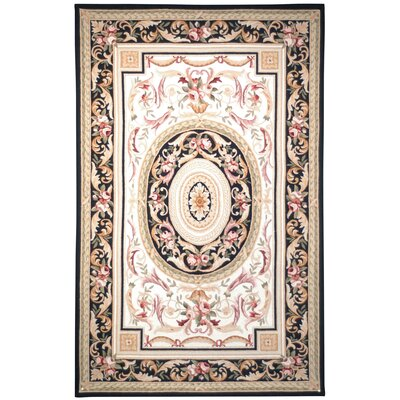 Weaver Ivory / Black Area Rug Rug Size: Rectangle 89 x 119