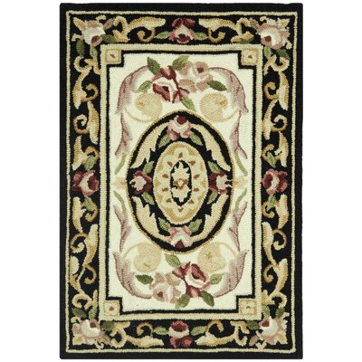 Weaver Ivory / Black Area Rug Rug Size: Rectangle 18 x 26