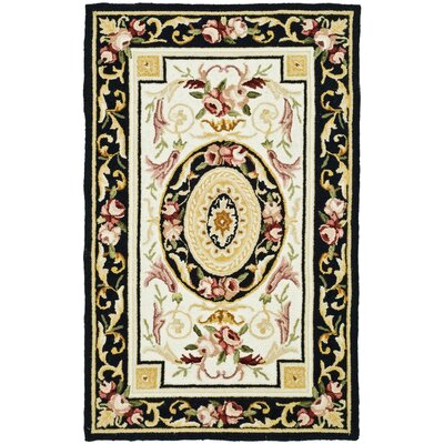 Weaver Ivory / Black Area Rug Rug Size: Rectangle 26 x 4