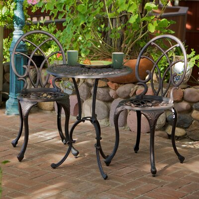 Hawking 3 Piece Palms Aluminum Copper Bistro Set