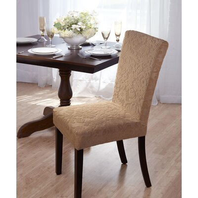 Velvet Damask Parson Chair Slipcover Upholstery: Beige