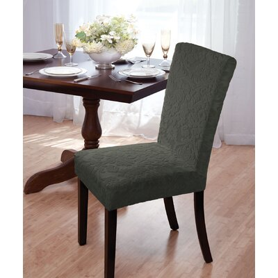 Velvet Damask Parson Chair Slipcover Upholstery: Hunter