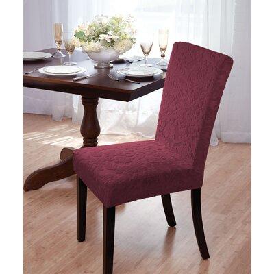 Velvet Damask Parson Chair Slipcover Upholstery: Burgundy
