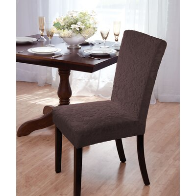 Velvet Damask Parson Chair Slipcover Upholstery: Brown