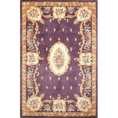 Totternhoe Plum FleurdeLis Aubusson Area Rug Rug Size: Rectangle 33 x 53