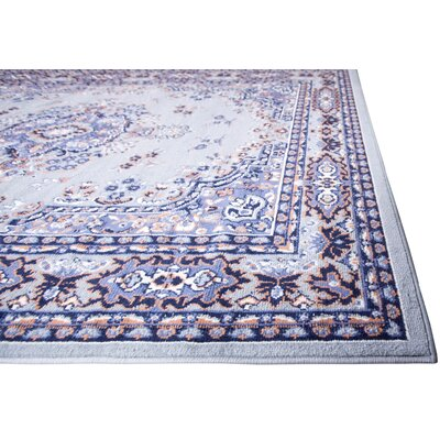 Lilly Gray/Blue Area Rug Rug Size: 37 x 52