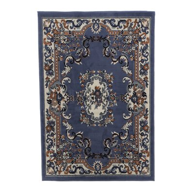 Lilly Country Blue Area Rug Rug Size: 37 x 52