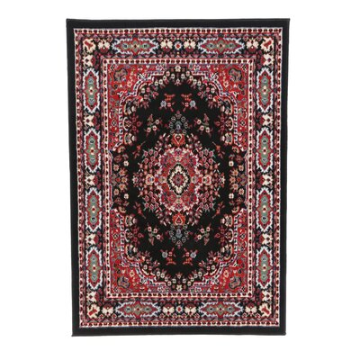 Lilly Black Area Rug Rug Size: 37 x 53