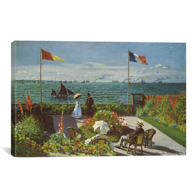 'Garden at Sainte-Adresse 1867' by Claude Monet Painting Print on Canvas Size: 12