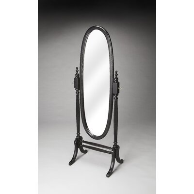 Oval Black Licorice Wood Cheval Mirror Finish: Black