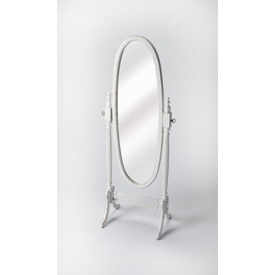 Oval Black Licorice Wood Cheval Mirror Finish: Cottage White