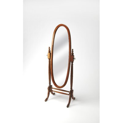 Oval Black Licorice Wood Cheval Mirror Finish: Olive Ash Burl