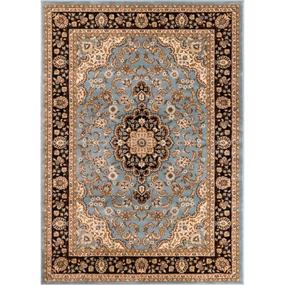 Belliere Medallion Traditional Light Blue Area Rug Rug Size: Rectangle 93 x 126