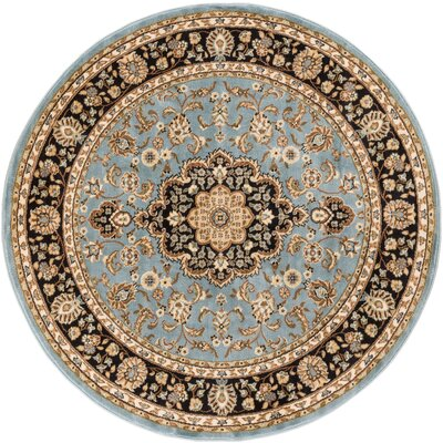 Belliere Medallion Traditional Light Blue Area Rug Rug Size: Round 53