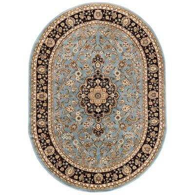 Belliere Medallion Traditional Light Blue Area Rug Rug Size: Oval 53 x 610