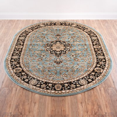 Belliere Medallion Traditional Blue Area Rug Rug Size: Oval 53 x 610