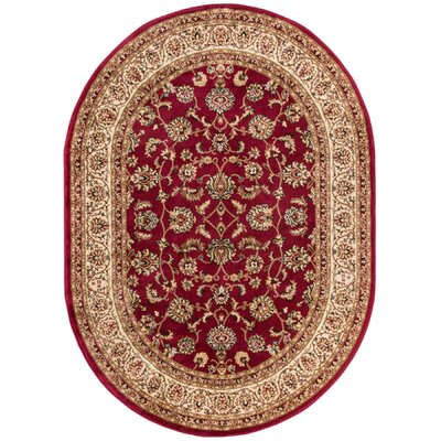Belliere Sarouk Border Red Area Rug Rug Size: Oval 53 x 610