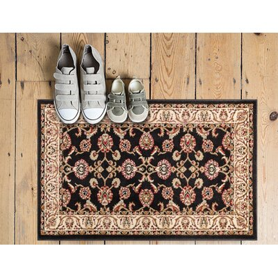 Belliere Border Black Area Rug Rug Size: Rectangle 53 x 73