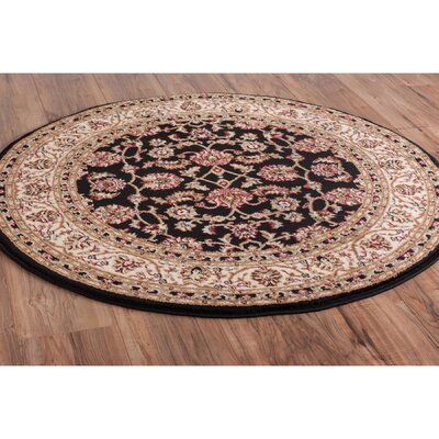 Belliere Border Black Area Rug Rug Size: Round 311