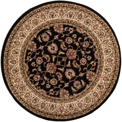 Belliere Border Black Area Rug Rug Size: Round 53