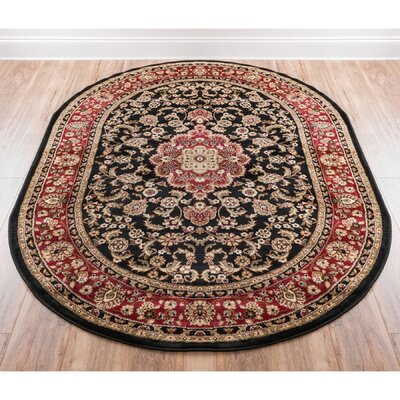 Belliere Medallion Black Area Rug Rug Size: Oval 53 x 610