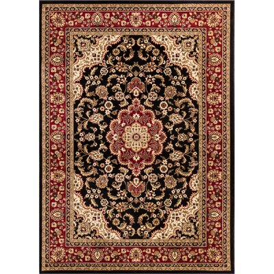 Belliere Medallion Black Area Rug Rug Size: Rectangle 53 x 73