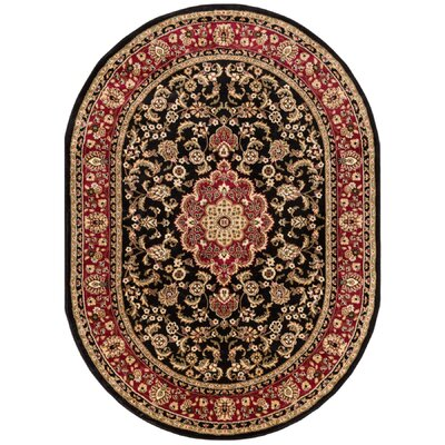 Belliere Medallion Black Area Rug Rug Size: Oval 5'3