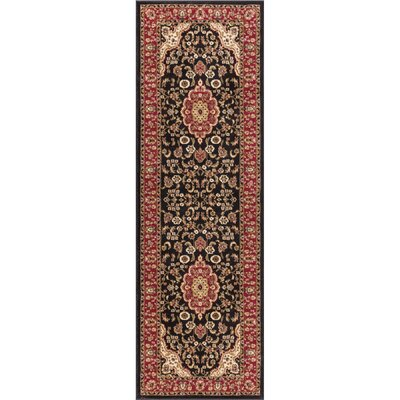 Belliere Medallion Black Area Rug Rug Size: Runner 27 x 91