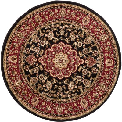 Belliere Medallion Black Area Rug Rug Size: Round 53