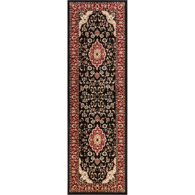 Belliere Medallion Black Area Rug Rug Size: Runner 2'3