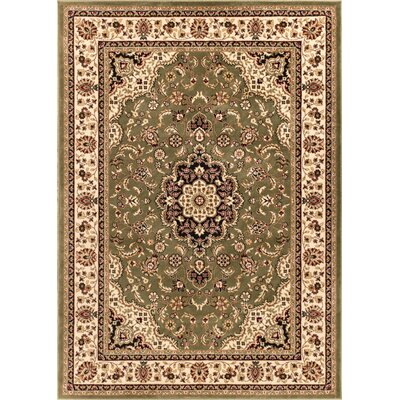 Belliere Medallion Green Area Rug Rug Size: 67 x 96