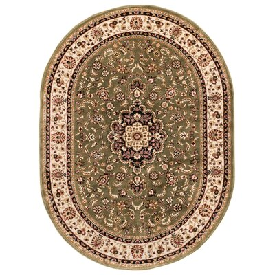 Belliere Medallion Green Area Rug Rug Size: Oval 67 x 96