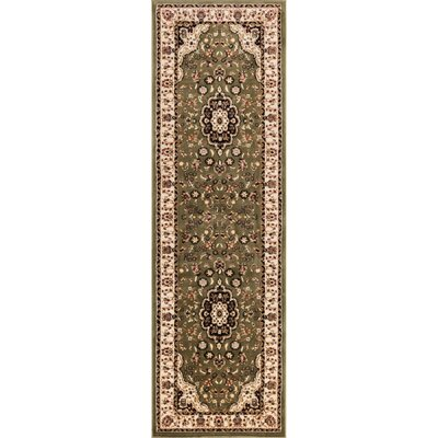 Belliere Medallion Green Area Rug Rug Size: Runner 23 x 73
