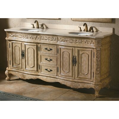 Vendome 72 Double Antique Parchment Bathroom Vanity Set