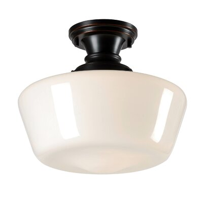 Priscilla 1-Light Semi Flush Mount Fixture Finish: Oil Rubbed Bronze