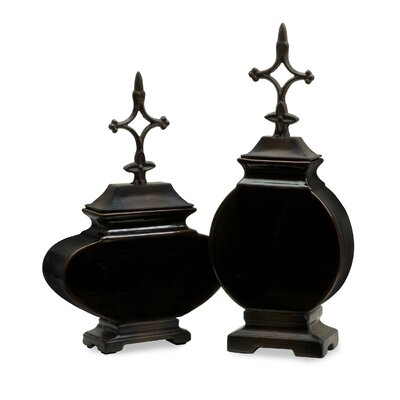 2 Piece Navigate Lidded Ceramic Vase Set