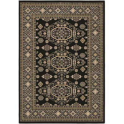 Hyatt Black/Green Area Rug Rug Size: 53 x 76